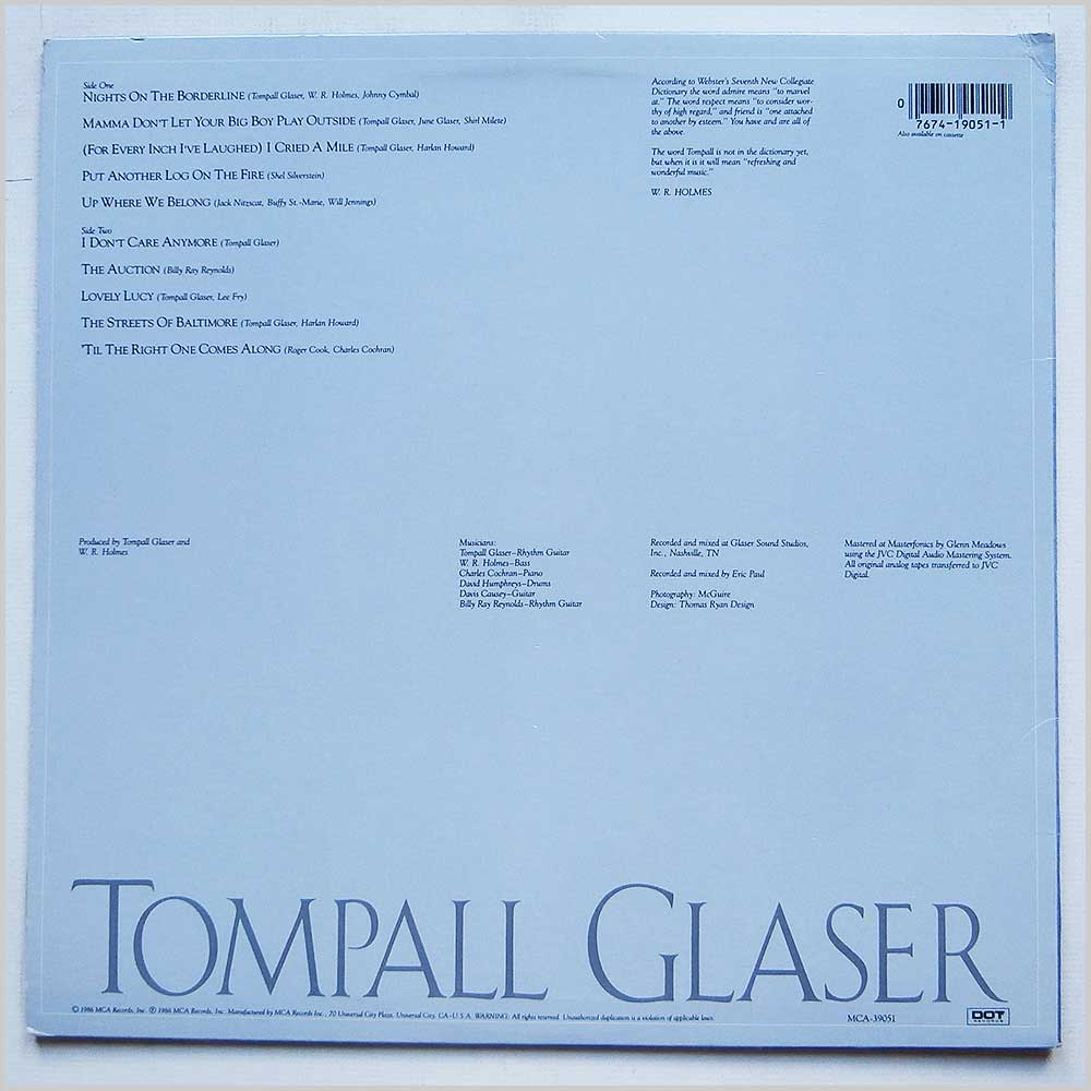 Tompall Glaser - Nights On The Borderline (MCA 39051)