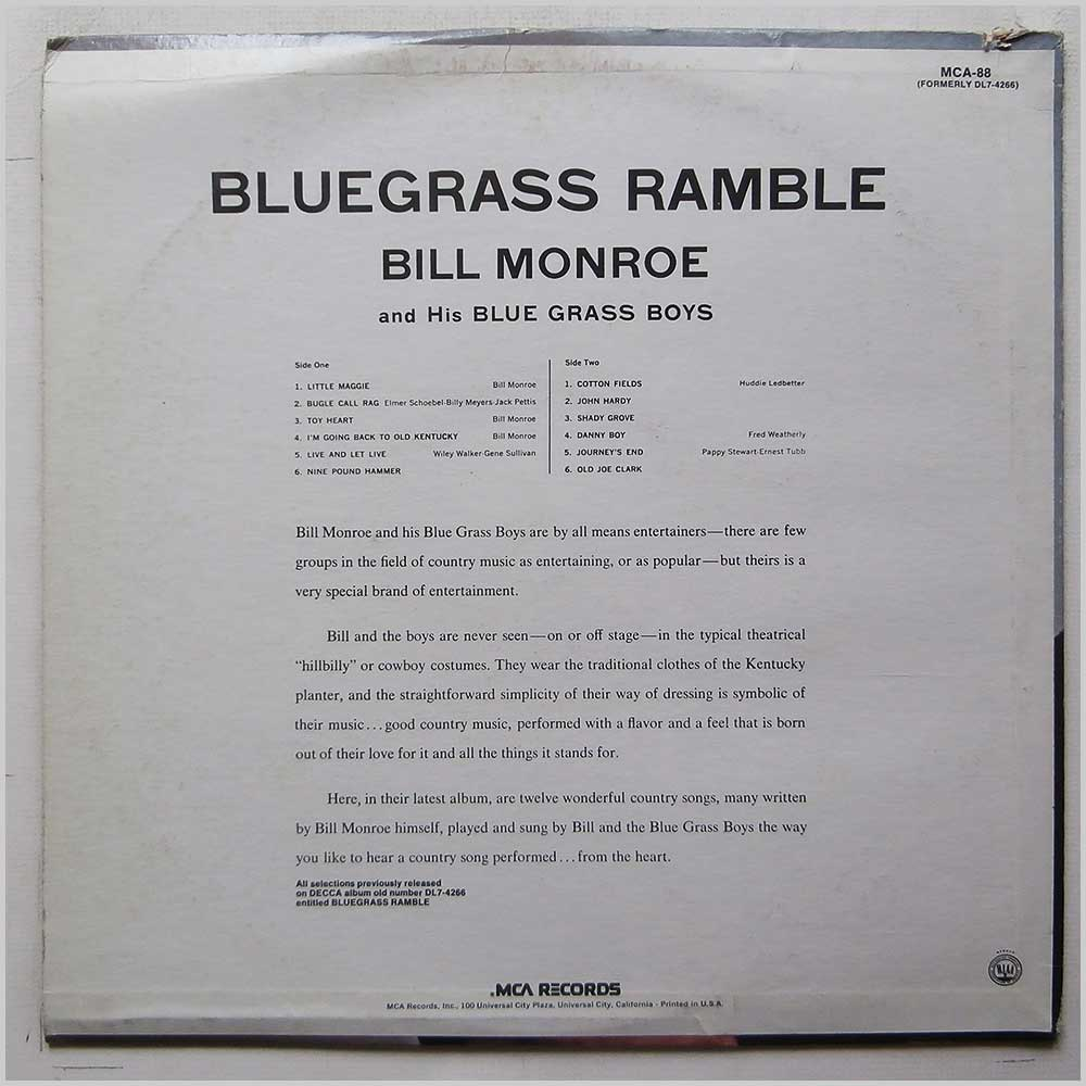 Bill Monroe and His Blue Grass Boys - Bluegrass Ramble (MCA-88)