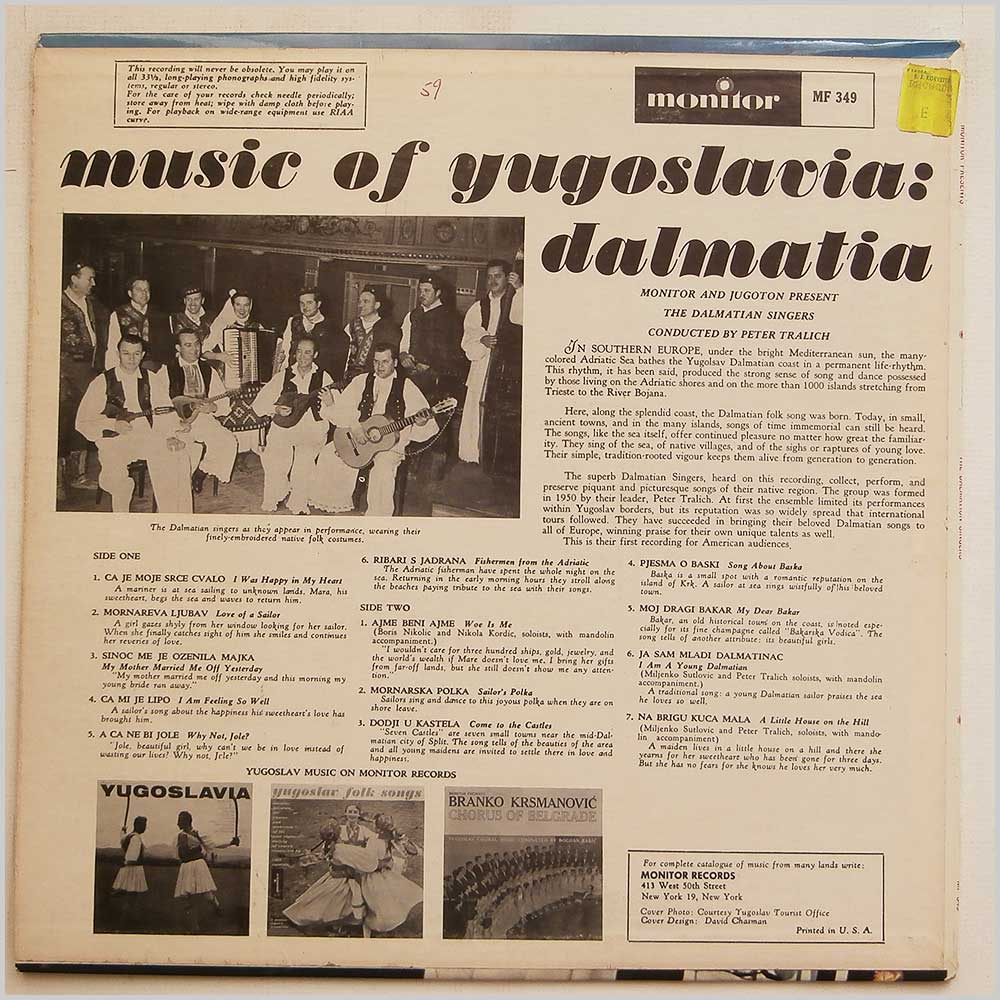 The Dalmation Singers - Music Of Yugoslavia: Dalmatia (MF 349)