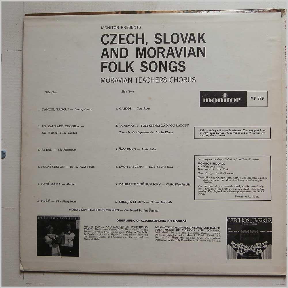Moravian Teachers Chorus - Czech, Slovak, Moravian Folk Songs (MF 389)