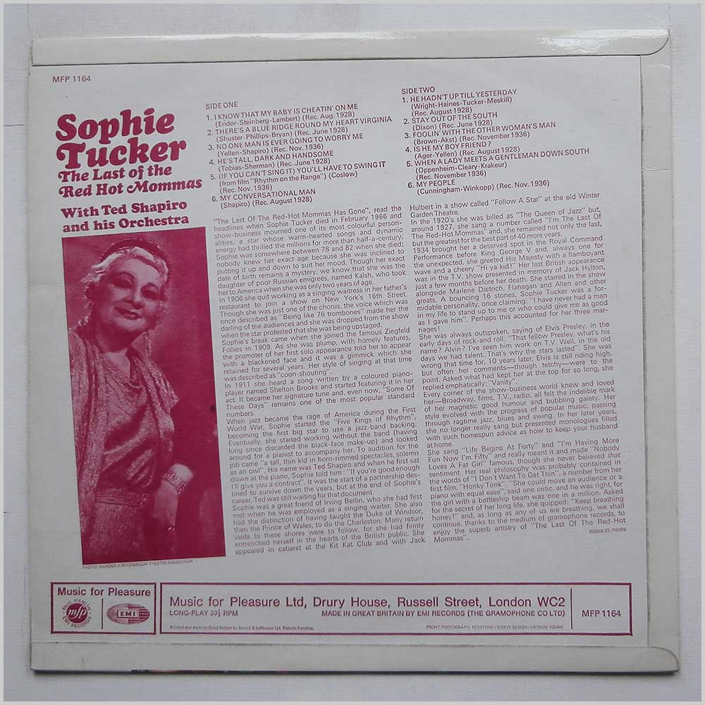 Sophie Tucker - The Last Of The Red Hot Mommas (MFP 1164)