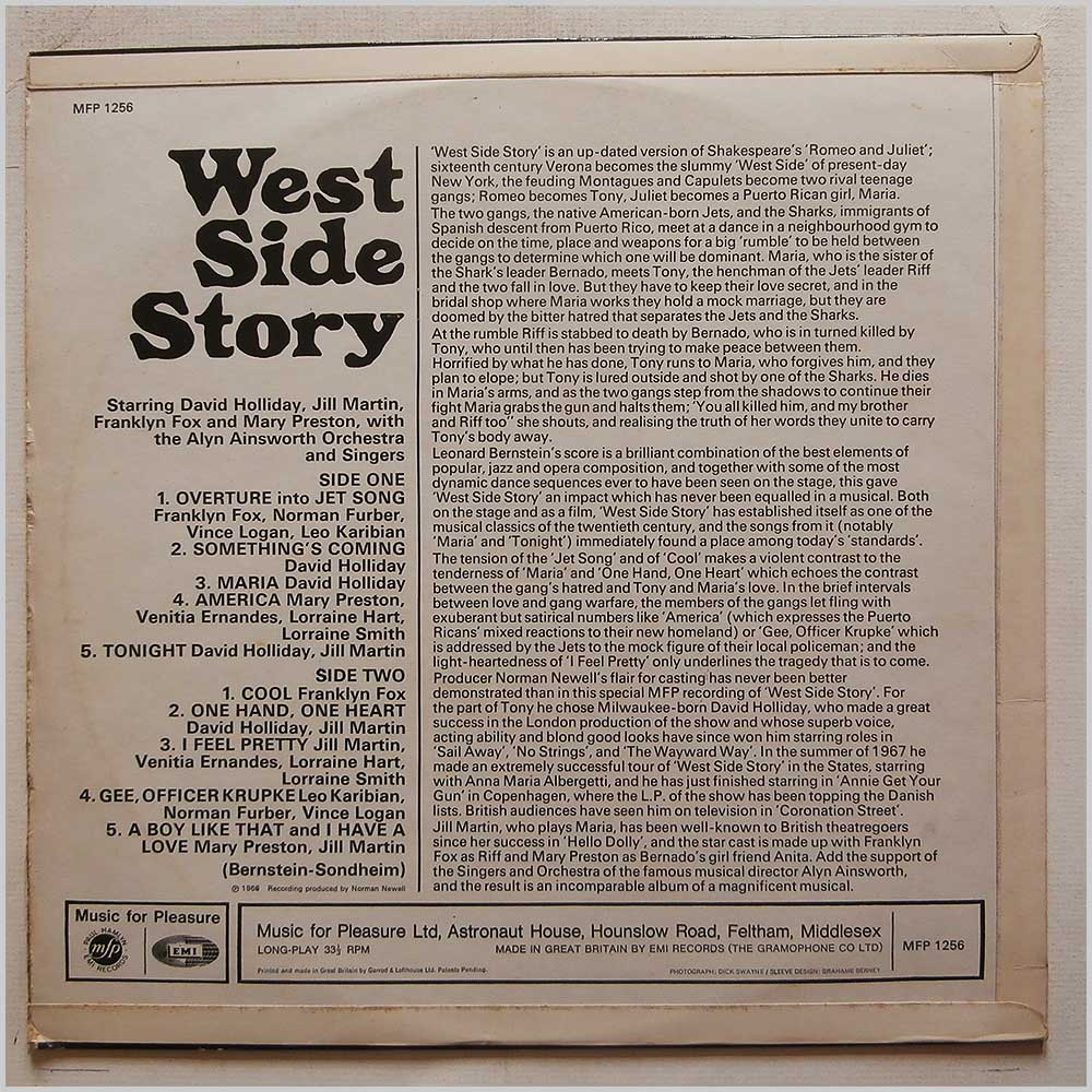 David Holliday, Jill Martin, The Alyn Ainsworth Orchestra - The Great West Side Story (MFP 1256)