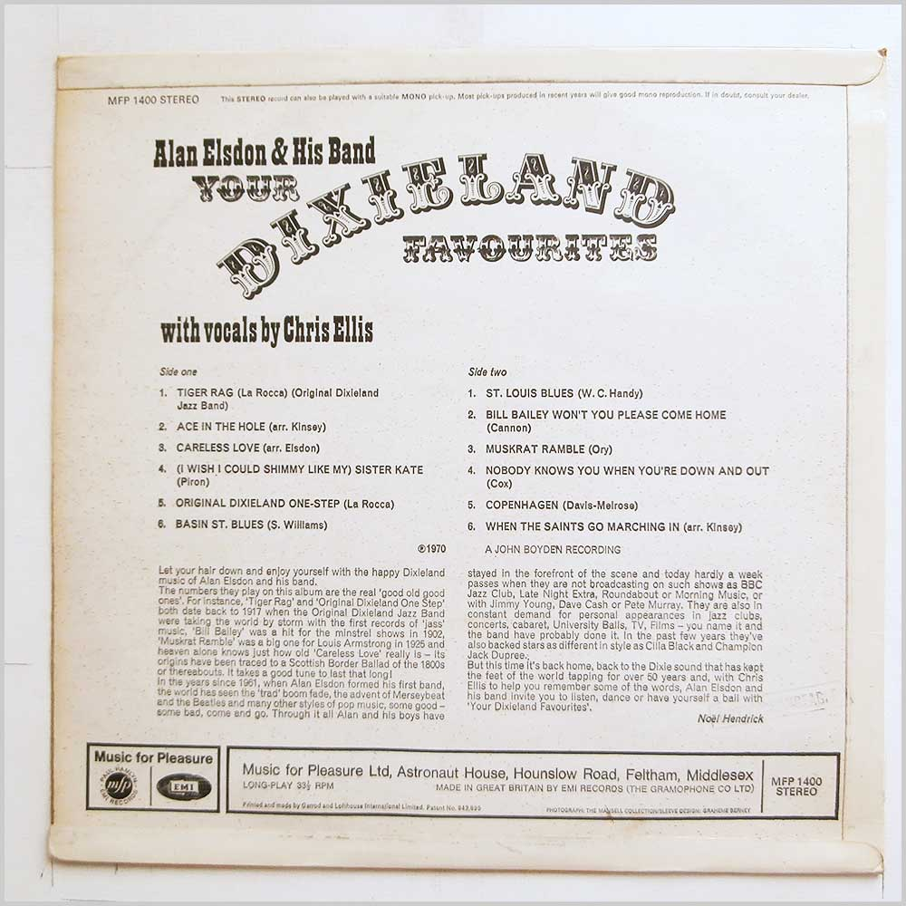 Alan Elsdon and His Band - Dixieland Favourites (MFP 1400)
