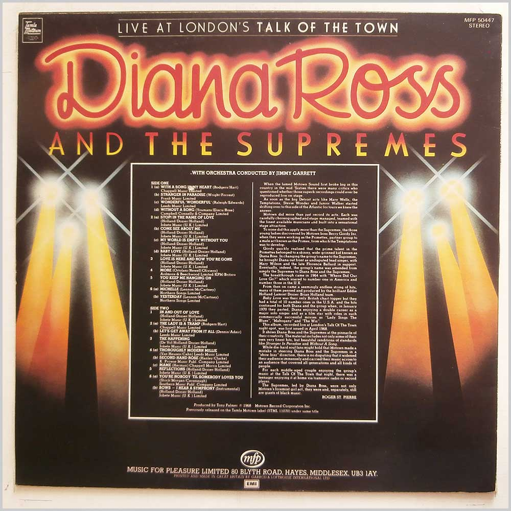 Diana Ross and The Supremes - Live At London's Talk Of The Town (MFP 50447)