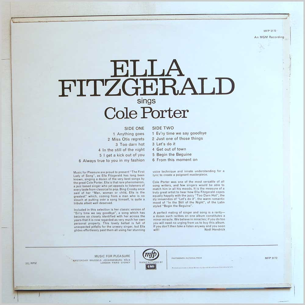 Ella Fitzgerald - Ev'ry Time We Say Goodbye, Ella Fitzgerald Sings Cole Porter (MFP 5172)