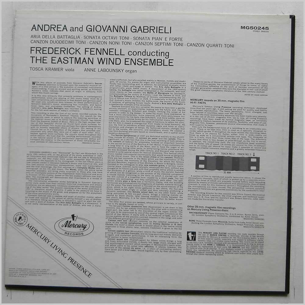 Frederick Fennell, Eastman Wind Ensemble - Music Of Andrea And Giovanni Gabrieli (MG50245)