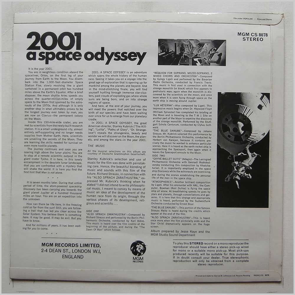Various - 2001: A Space Odyssey (Music From The Motion Picture Sound Track) (MGM CS 8078)