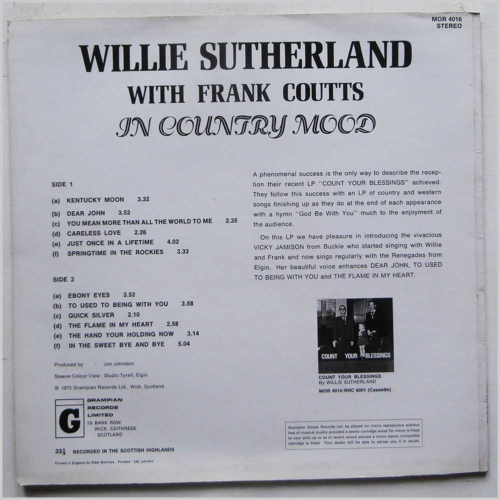 Willie Sutherland, Frank Coutts - In Country Mood (MOR 4016)