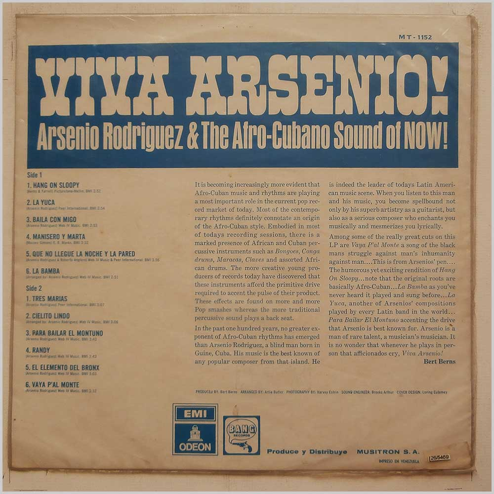 Arsenio Rodriguez - Viva Arsenio! Arsenio Rodriguez And The Afro-Cubano Of Now! (MT-1152)