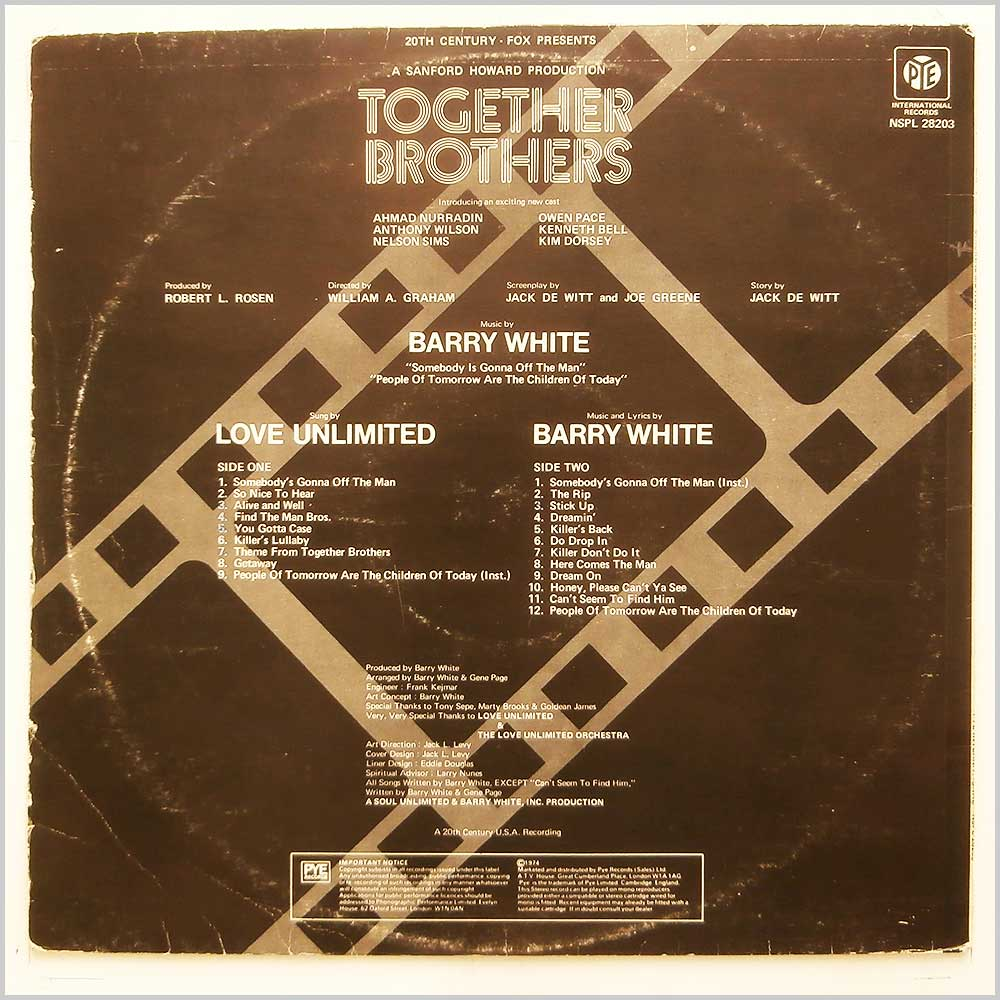 Barry White, The Love Unlimited Orchestra - Together Brothers (Original Motion Picture Soundtrack) (NSPL 28203)