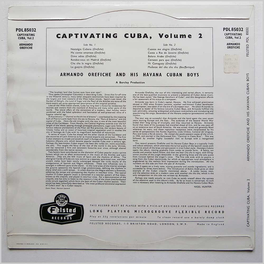 Armando Orefiche And His Havana Cuban Boys - Captivating Cuba Volume 2 (PDL 85032)