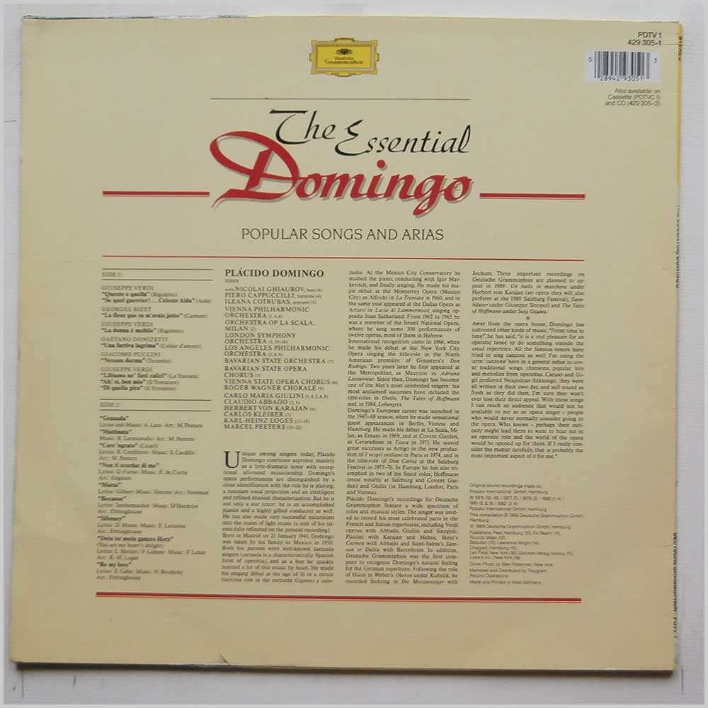 Placido Domingo - The Essential Domingo: Popular Songs and Arias (PDTV 1 429 305-1)