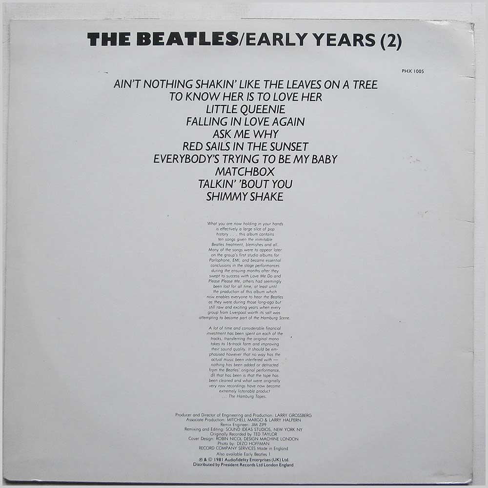 The Beatles - Early Years (2) (PHX 1005)