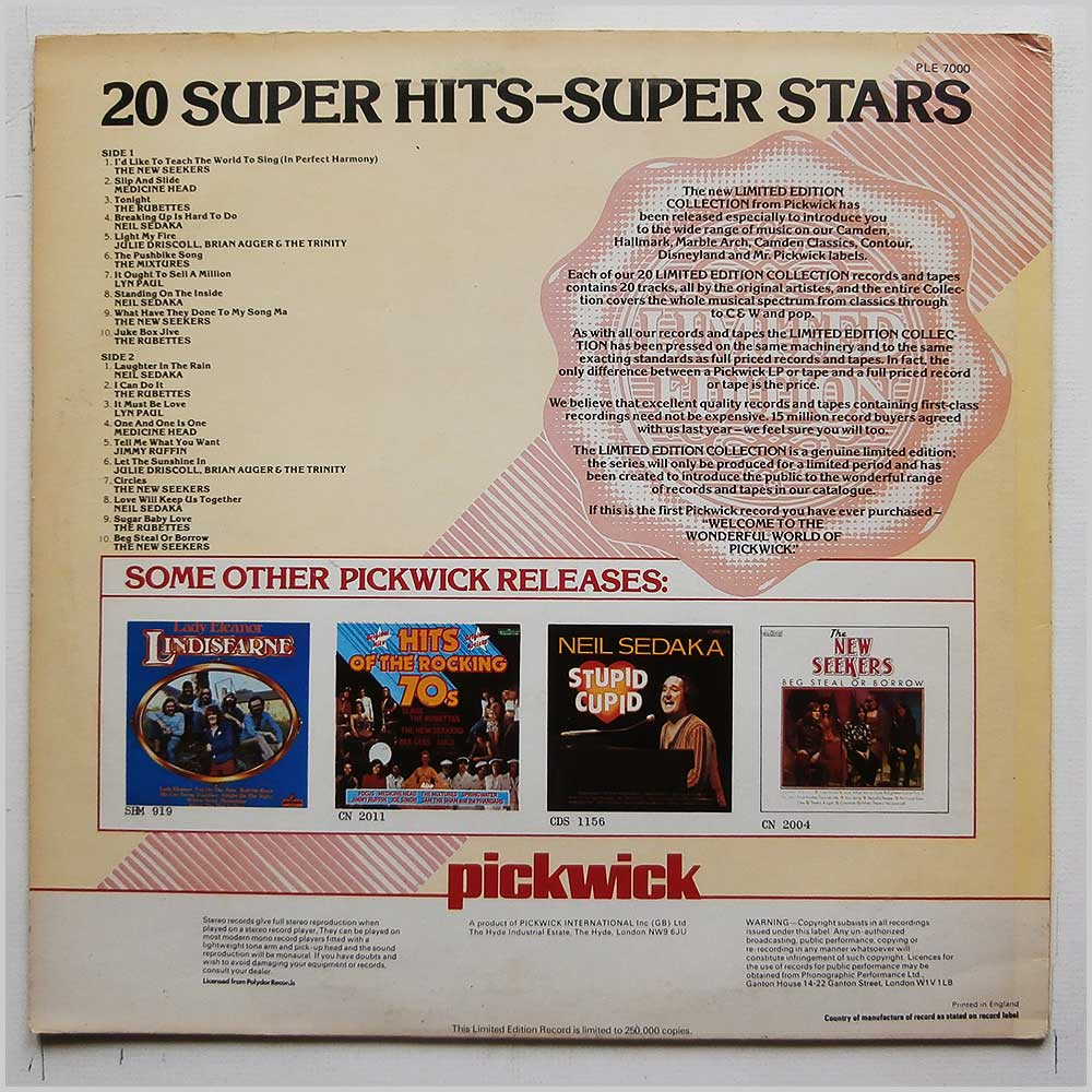Various - 20 Super Hits-Super Stars (PLE 7000)