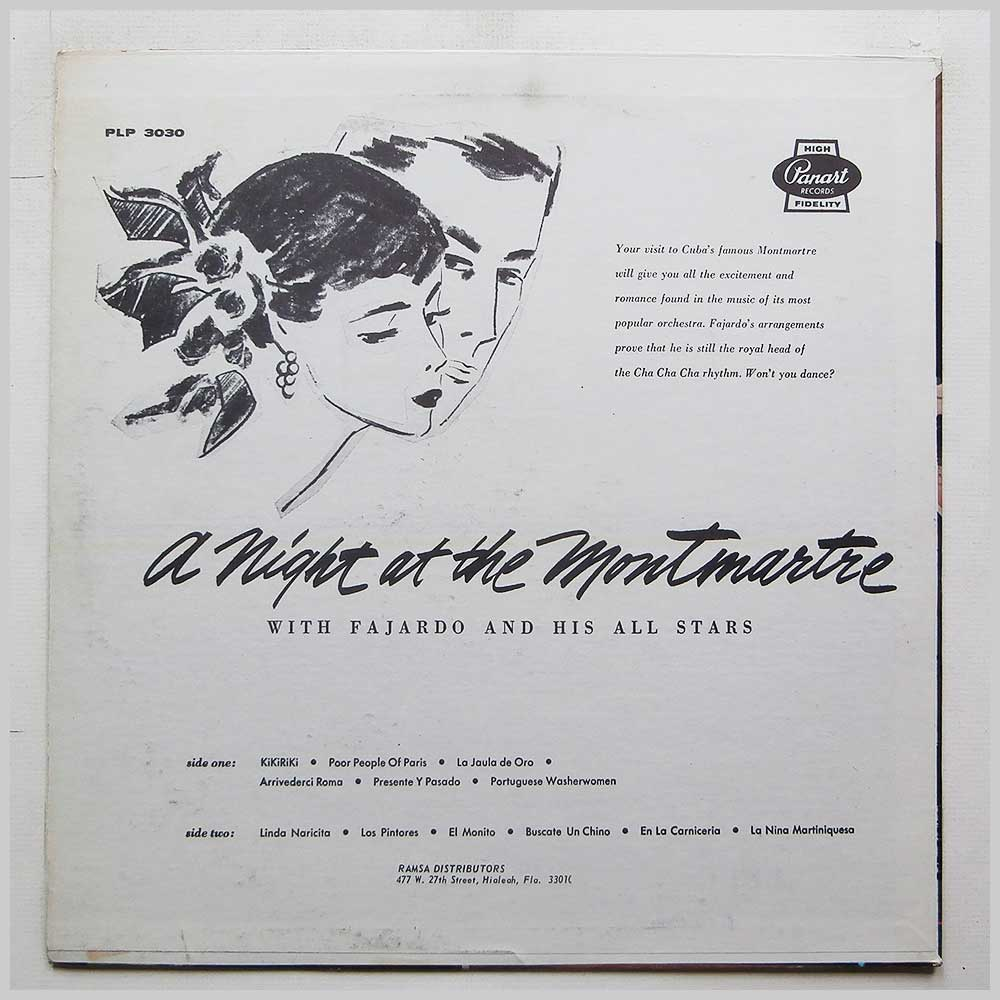 Fajardo and His All Stars - Una Noche En Montmartre, A Night At The Montmarte With Fajardo And His All Stars (PLP 3030)