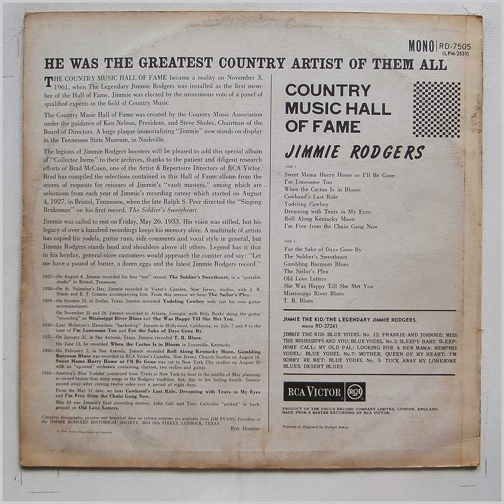 Jimmie Rodgers - Country Music Hall Of Fame (RD-7505)