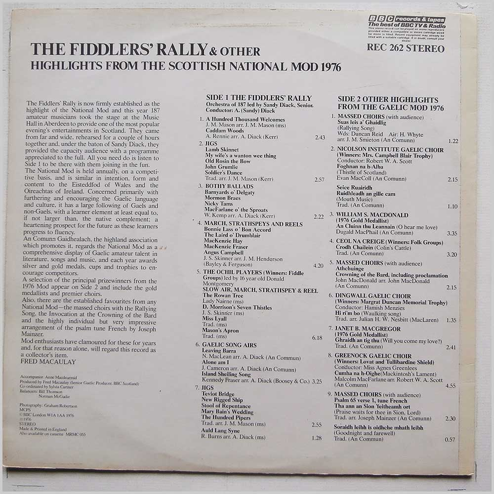 Various - The Fiddler's Rally and other Highlights from the Scottish National Mod 1976 (REC 262)