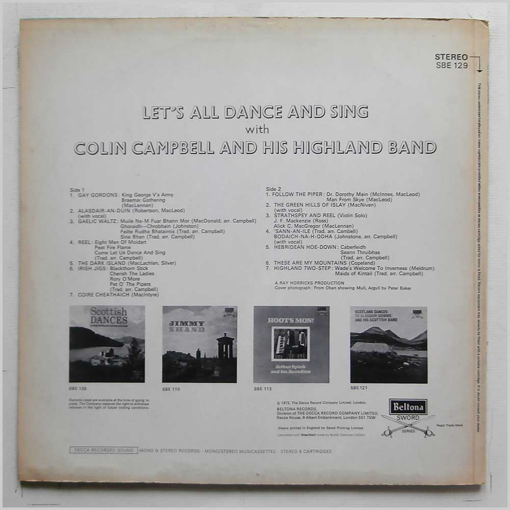 Colin Campbell and His Highland Band - Let's All Dance And Sing With Colin Campbell And His Highland Band (SBE 129)