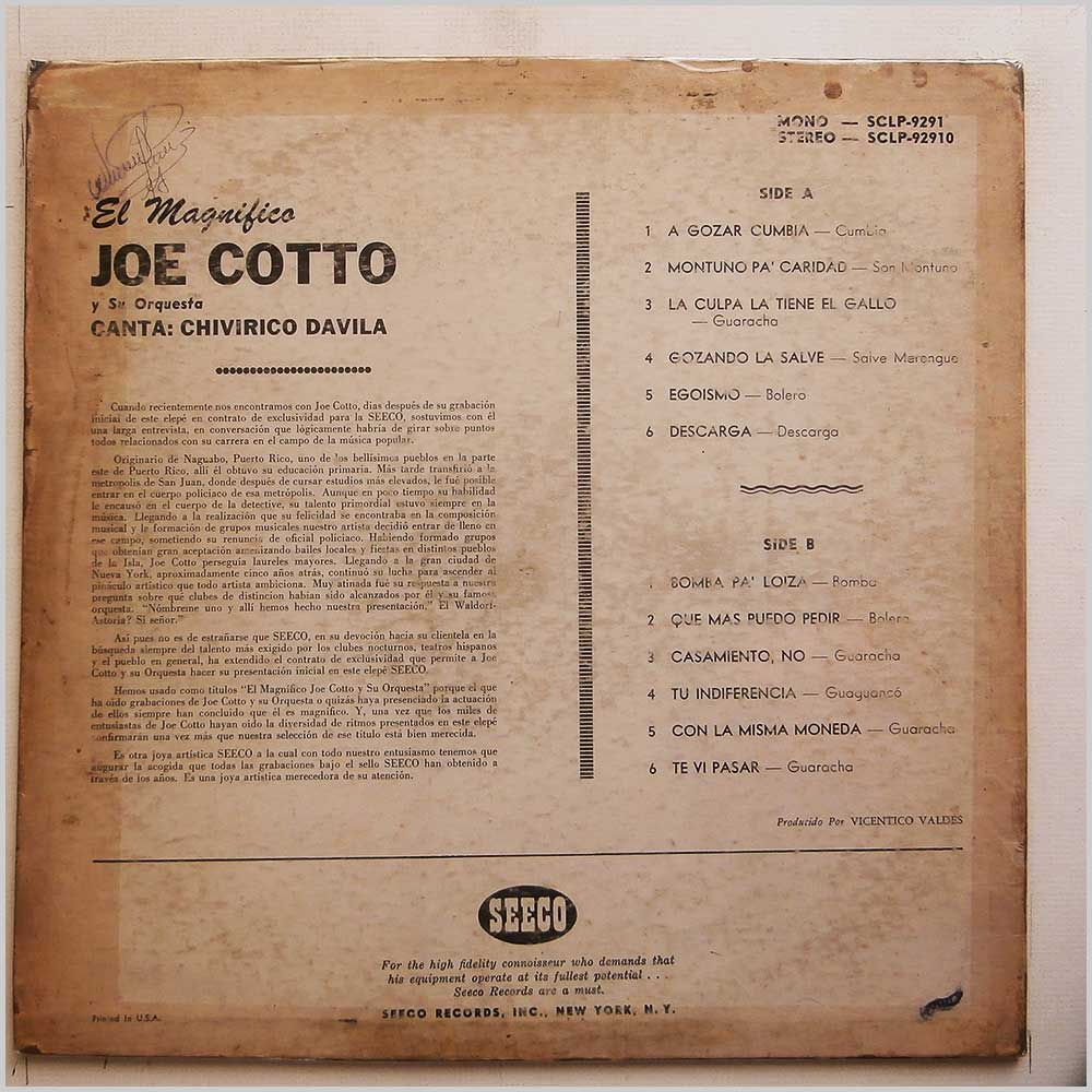Joe Cotto Y Su Orquesta - El Magnifico (SCLP 9291)
