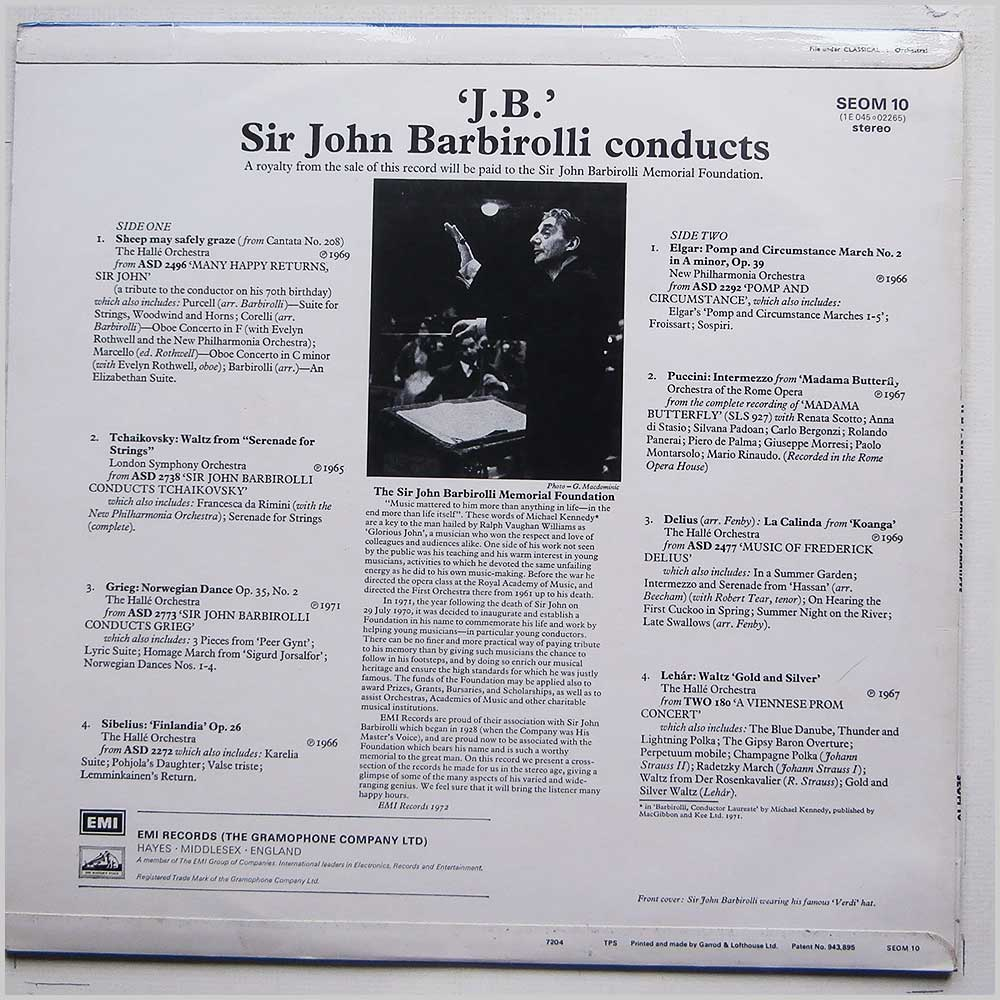 Sir John Barbirolli J.B. Sir John Barbirolli Conducts