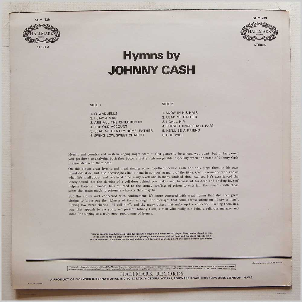 Johnny Cash - Hymns By Johnny Cash (SHM 739)