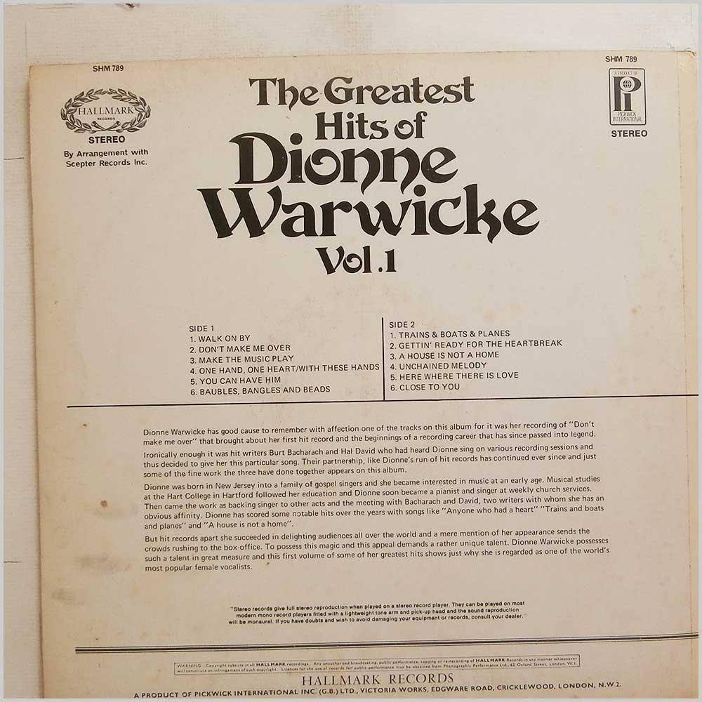 Dionne Warwick - The Greatest Hits Of Dionne Warwick Vol.1 (SHM 789)