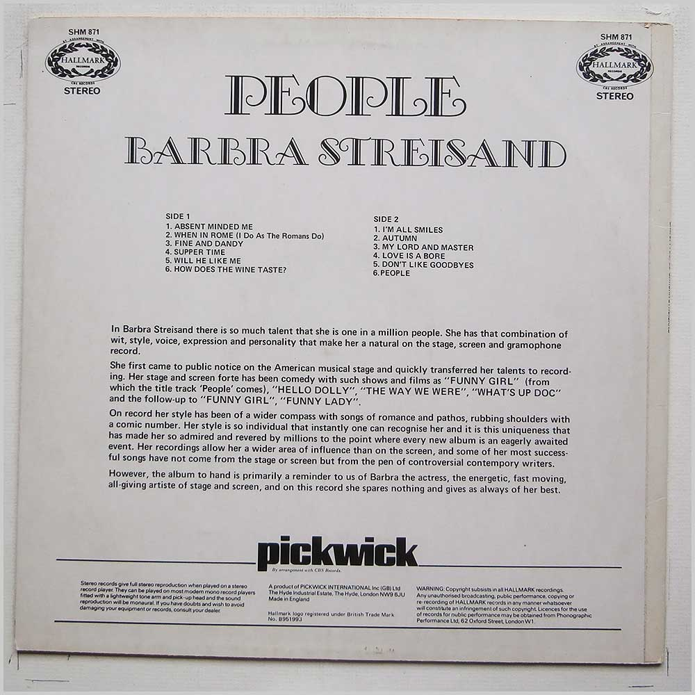 Barbara Streisland - People (SHM 871)