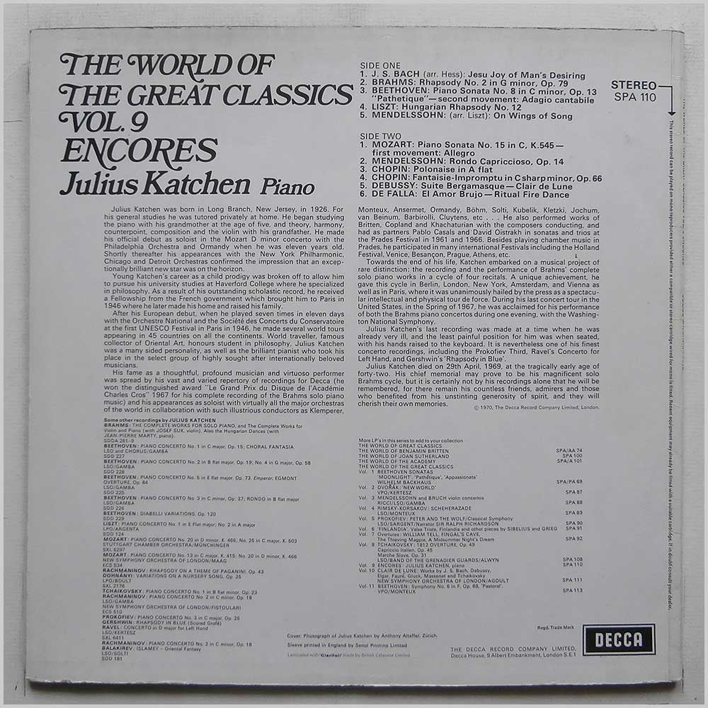 Julius Katchen - Encores The World Of The Great Classics Vol. 9 (SPA 110)