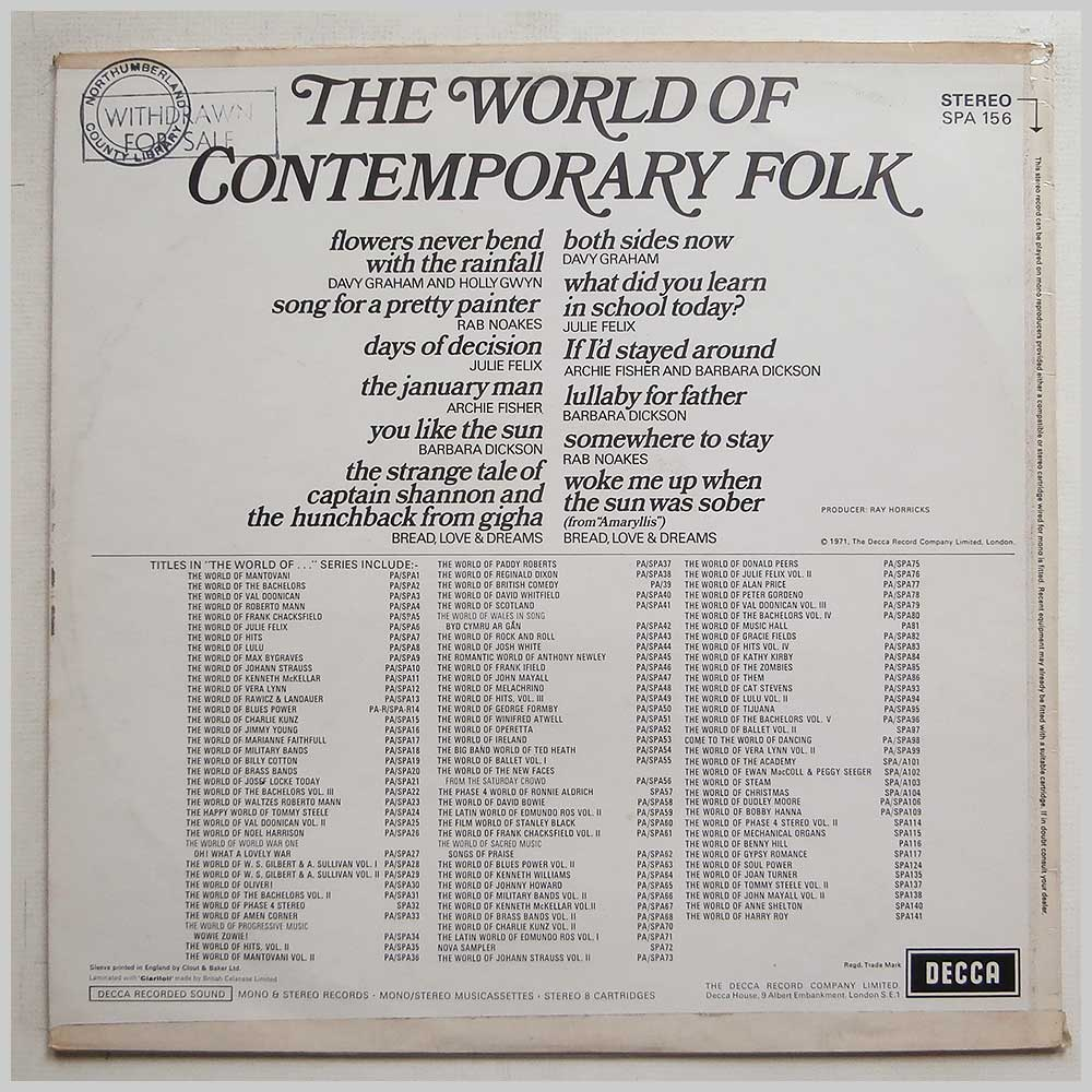 Various - The World Of Contemporary Folk (SPA 156)
