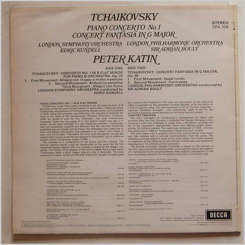 Peter Katin, Edric Kundell, Sir Adrian Boult, The London Philharmonic Orchestra - Tchaikovsky: Piano Concerto No.1, Concert Fantasia in G Minor (SPA 168)