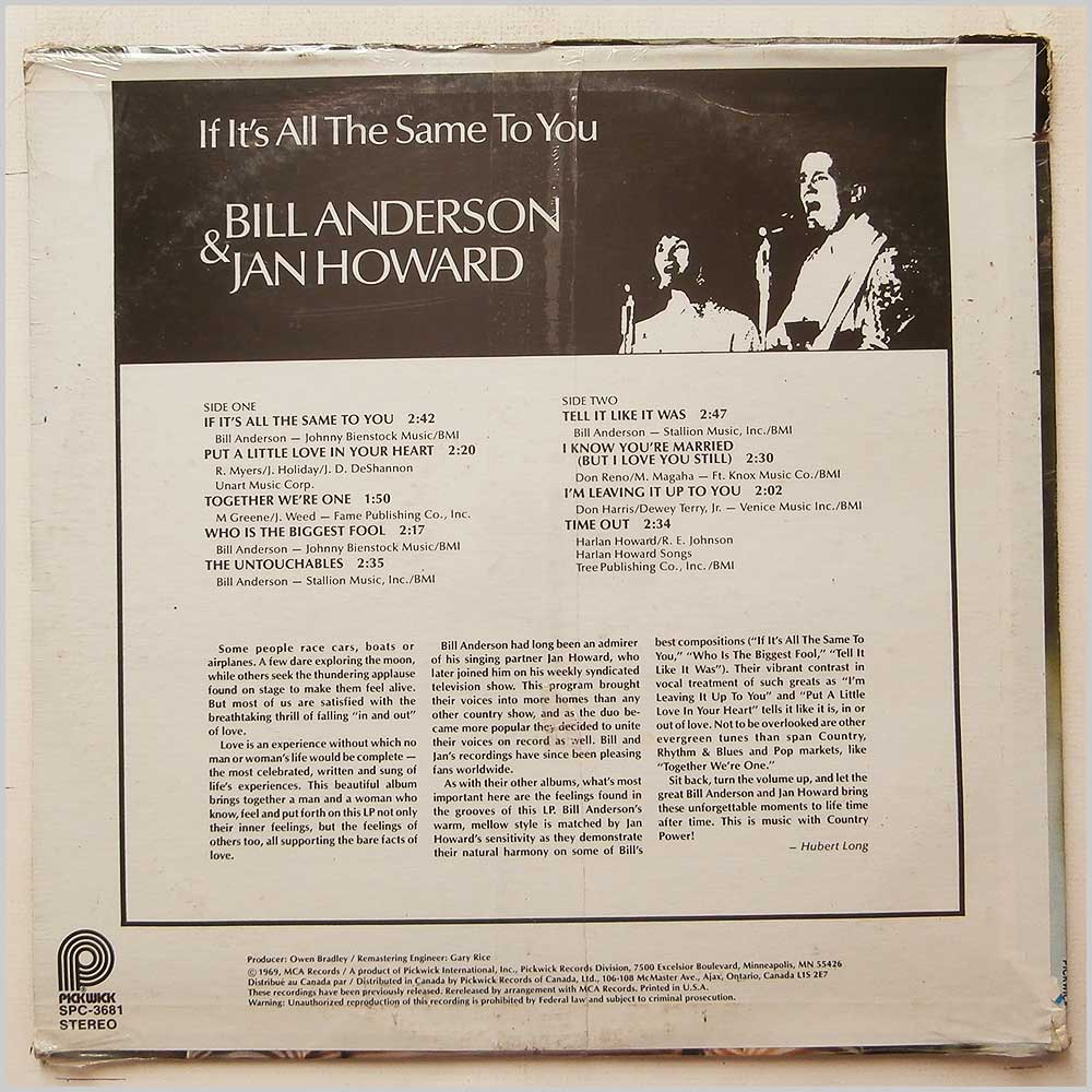 Bill Anderson and Jan Howard - If It's All The Same To You (SPC-3681)