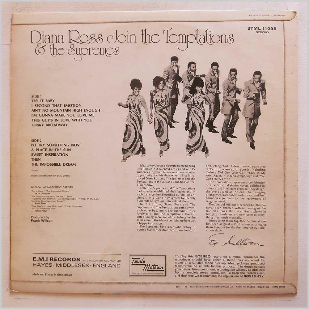 Diana Ross and The Supremes, The Temptations - Diana Ross and The Supremes Join The Temptations (STML 11096)