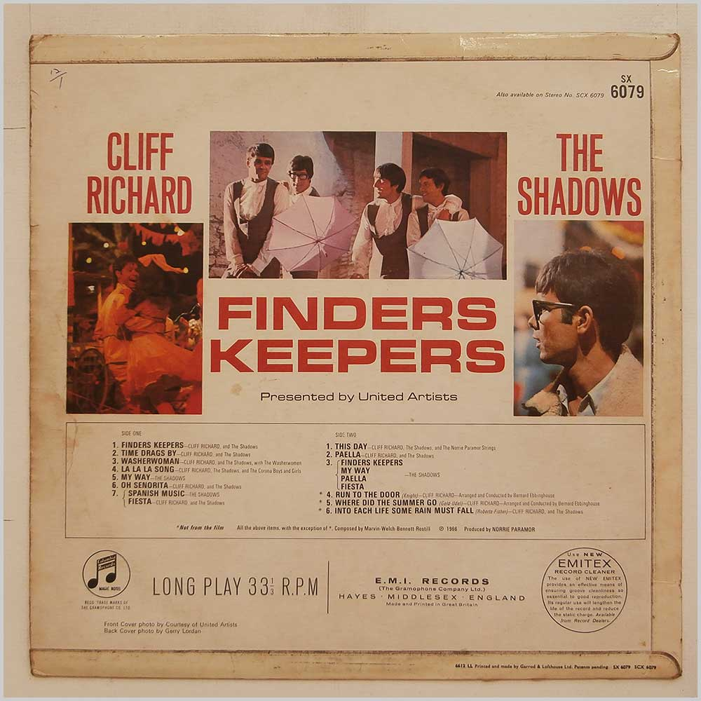 Cliff Richards and The Shadows - Finders Keepers (SX 6079)