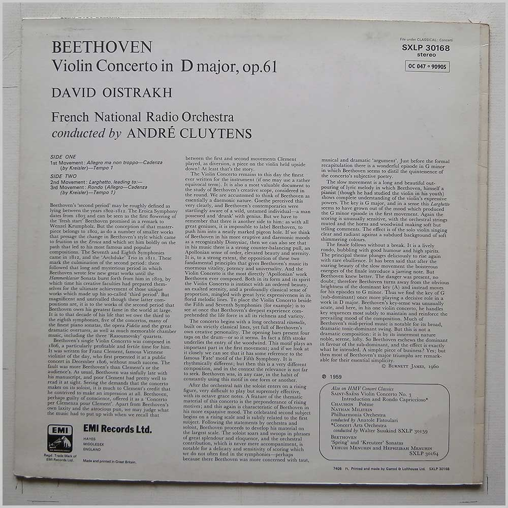 David Oistrakh, Andre Cluytens, French National Radio Orchestra - Beethoven: Violin Concerto in D Major (SXLP 30168)
