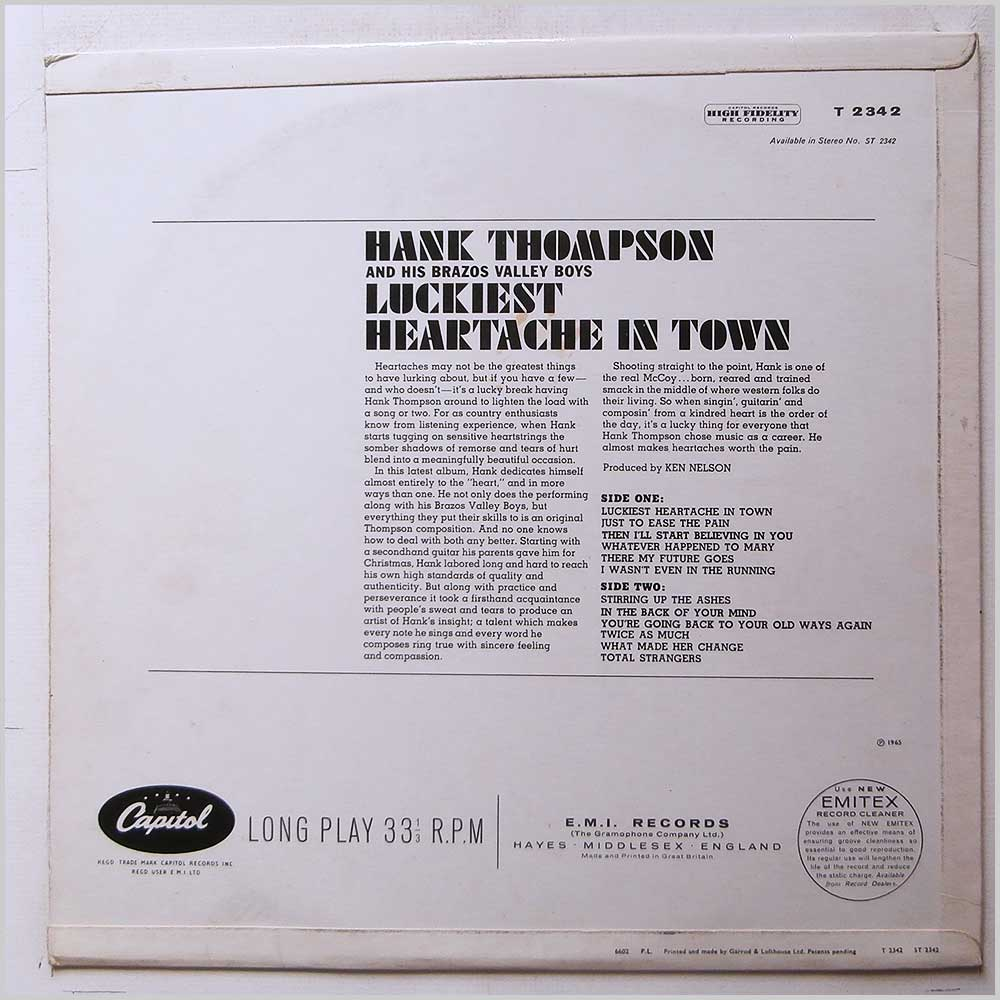 Hank Thompson and His Brazos Valley Boys - Luckiest Heartache in Town (T 2342)