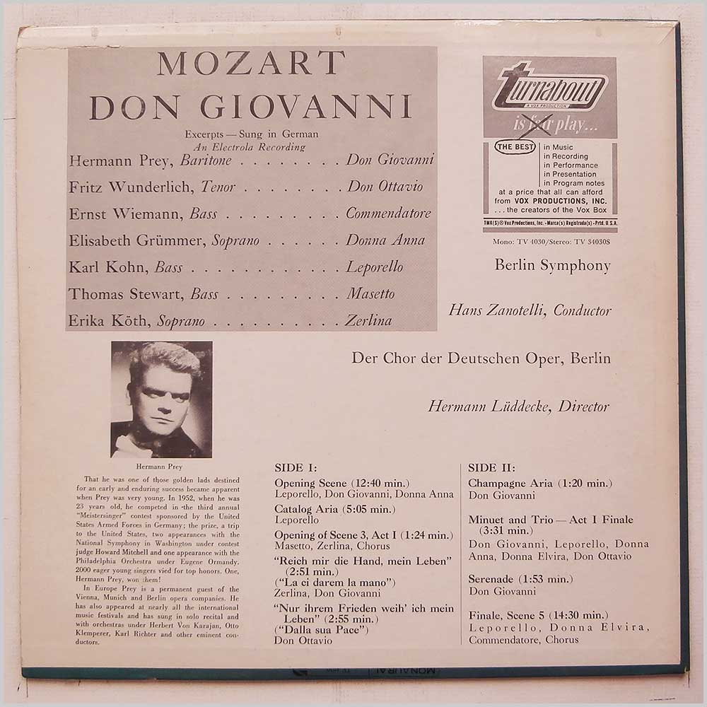 Hermann Prey, Hans Zanotelli, Berlin Symphony - Mozart: Don Giovanni (TV 34030 S)