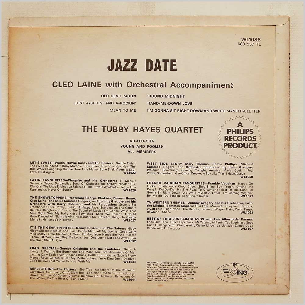 Cleo Laine and The Tubby Hayes Quartet - Jazz Date (WL1088)