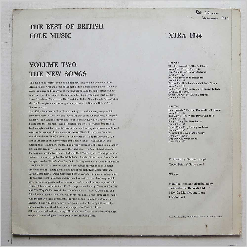 Various - The Best Of British Folk Music Volume Ii (XTRA 1044)